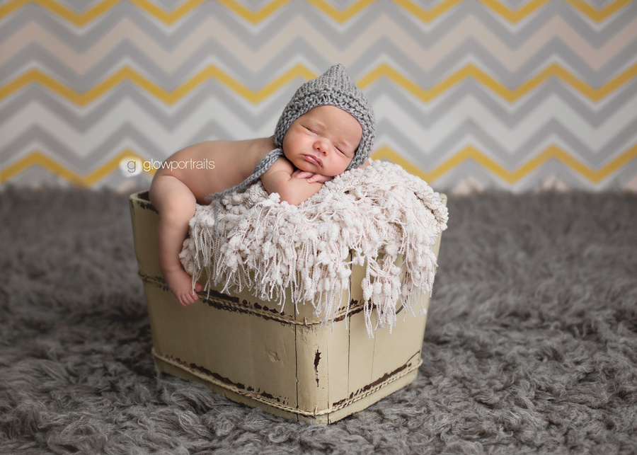 baby in bucket, chevron background