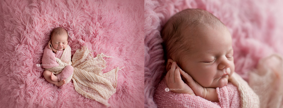 glow portraits newborn on pink fur wrapped